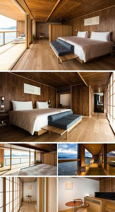 hotel arquitectura This modern hotel room has wood paneling as well as wood flooring, while most of the furniture is also made from wood. Japan Room, Gray Bathroom Walls, Modern Hotel Room, Hotel Boutique, Floating Hotel, Zack E Cody, Hotel Room Design, Architecture Design, Deco Design