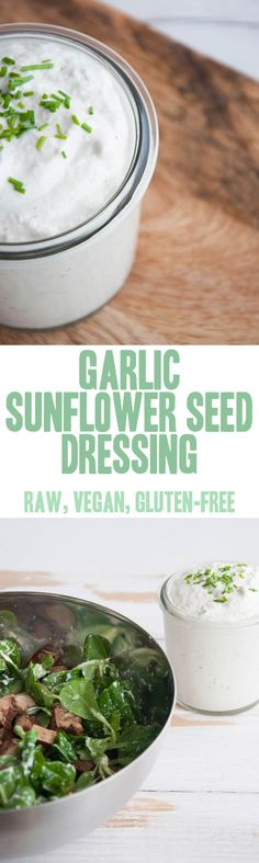 This raw, vegan and glutenfree Garlic Sunflower Seed Dressing can be used as a delicious dip or as a salad dressing. The consistency can be…