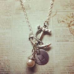 Hand Stamped SILVER Anchor Necklace by stampedandstrung on Etsy, $27.50