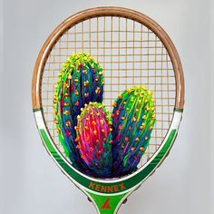 Racket Embroidery by Danielle Clough (Handmade Charlotte) Cactus Embroidery, Modern Embroidery, Diy Embroidery, Cross Stitch Embroidery, Embroidery Designs, Embroidered Cactus, Diy Broderie, Cactus Art, Cactus Decor