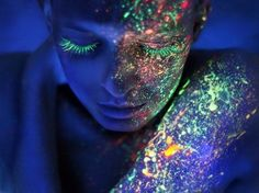 Glow in the dark black light makeup .. Reminds me of this girl at the bar I went to in South America