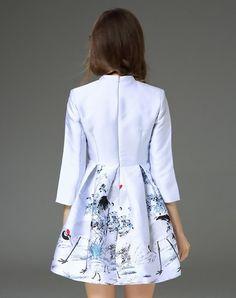 Purple 3/4 Sleeve Cheongsam Jacquard Flare Dress