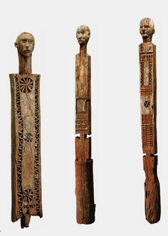 "Africa   ""Kigango / Vigango"" funerary posts from the Giryama people of Kenya   Wood    Source; http://issuu.com/yahzoo/docs/african_art_-_maurice_delafosse"