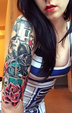 Character from Star Wars  Tattoo, May the force be with you, princess leia, luke skywalker, darth vadder, hans solo, chewy, lando, R2D2, C3PO, jabba the hut, lando, death star, yoda, ewaks, obi one kenobi, dark side, wookie, light saber, millennium falcon, Admiral Ackbar, anakin skywalker, at-at walker, bantha, BB-8, boba fettm , Chewbacca,  	 www.talesofthetatt.com