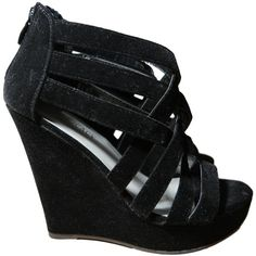 Velvet Black Strappy Platform Wedge Heels Delicacy Size 7 ❤ liked on Polyvore featuring shoes, sandals, black strap shoes, strappy platform sandals, black platform shoes, black strap sandals and strappy sandals