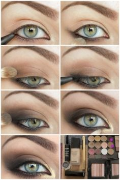 Make-up How To: Brown Smoky Eye. Get smoky. Nice pictorial, very straightforward- you don't need 10 different products/brushes to do this (contrary to the last photo). An eyeliner and a tri-tone shadow palette is more than enough!