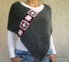 This stylish gray afghan poncho will keeps you warm in fall / winter season. I embellished it with crochet afgan motifs. There are lots of ways to wear this super stylish Poncho! Crochet Scarves, Crochet Shawl, Crochet Clothes, Knit Crochet, Crochet Stitches, Knitted Afghans, Knitted Poncho, Poncho Scarf, Granny Square Poncho