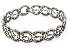 Braided Wire Wrapped Woven Guff Silver Bracelet  от HroweJewelry