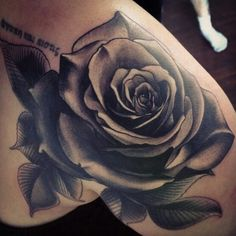 My Black and Grey Rose Tattoo.     Cover up. Front Shoulder tattoo. Start of my Quarter Sleeve.     Done by Jesse @ New World Samurai,  Canmore AB.