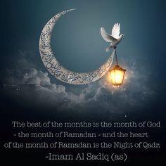 Ramadan kareem\ saaaammaaa: The best of the months is the month of God - the month of Ramadan - and the heart of the month of Ramadan is the Night of Qadr. -Imam Al Sadiq (as) Bihar al-Anwar, vol. Bon Ramadan, Islam Ramadan, Eid Mubarak Wishes, Eid Mubarak Greetings, Islamic Images, Islamic Pictures, Ramadan Mubarak Wallpapers, Ramdan Kareem, Ramadan Greetings