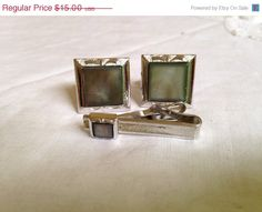 ONSALE 1950's Swank Silver and Grey Cufflinks and by theatticshop
