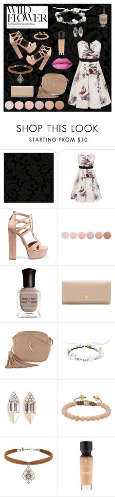 """Homecoming!!"" by kiaaurlp ❤ liked on Polyvore featuring York Wallcoverings, Little Mistress, Aquazzura, Deborah Lippmann, Prada, Yves Saint Laurent, Carolyn Colby, Shamballa Jewels, Miss Selfridge and outfit"