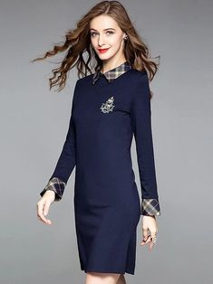 Fashion Embroidery Turn-Down Collar Long Sleeve A-Line Dress