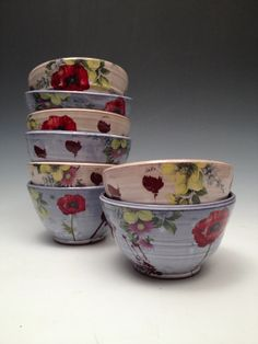 Cereal Bowls with poppies and blue or yellow glaze by rothshank, $60.00