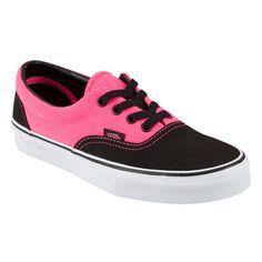 Vans Era lace-up deck shoes. Rubber Vans Off the Wall heel badge. Pink Vans, Black Vans, Pink Sneakers, Sneakers Women, Vans Off The Wall, Keds, Skechers, Footwear, Shoe Bag