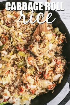 Cabbage Roll Rice - Want the taste of cabbage rolls without the extra work? This Cabbage Roll Rice recipe is exactly what you need. Its easy to make and tastes delicious! Cabbage Recipes, Rice Recipes, Beef Recipes, Vegetarian Recipes, Cooking Recipes, Buffet Recipes, Easy Recipes, Sausage Rice, Cabbage And Sausage