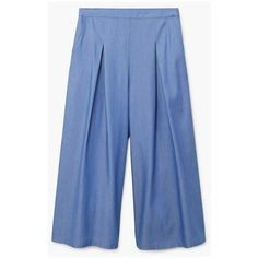MANGO Pleat detail trousers (4.030 RUB) ❤ liked on Polyvore featuring pants, capris, cropped trousers, side pocket pants, blue crop pants, blue trousers and mango trousers