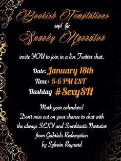 Argyle Empire ‏@Argyle_Empire  Here's all the info for the @BookishTemptations chat with Snarky Narrator. You'll want to be there! pic.twitte...