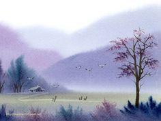 watercolor paintings chinese | 梦幻意境 乡村风景水彩画图片 Chinese Paintings WaterColor ...