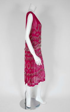 1920's French Couture Fuchsia-Pink Beaded Deco Silk-Chiffon Flapper Dress | From a collection of rare vintage evening dresses at https://www.1stdibs.com/fashion/clothing/evening-dresses/
