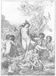 William Bouguereau sketch for the birth of Venus