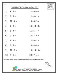 math worksheet : missing numbers for first grade  first grade missing numbers  : Missing Number Subtraction Worksheets