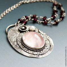 Купить Ожерелье из серебра с розовым кварцем, гранатом, жемчугом Теплый вечер - авторская ручная работа