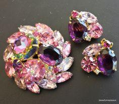 JULIANA Vintage Set Brooch Pin Earring Flower Pink Rhinestone Cluster Demi! 308