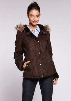 faux suede coat with faux fur trim