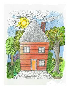 """""""Happy Red House"""" ink and color pencil drawing by Diane Hurst"""