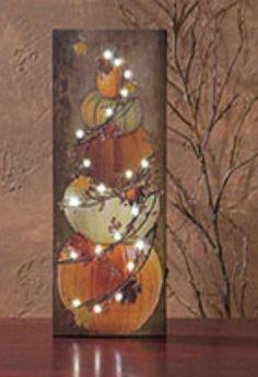 Timeless by Design Light-Up Bittersweet Pumpkin Stack Wall Canvas Halloween Signs, Halloween Decorations, Autumn Decorations, Halloween Projects, Light Up Pictures, Fall Pictures, Pumpkin Canvas, Decoupage, Pumpkin House