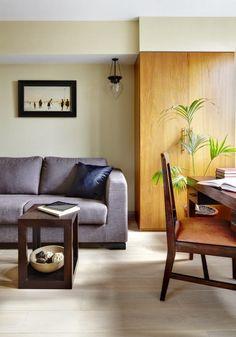 Meleg otthonos lakberendezés egy 67nm-es lakásban, finom vintázs és rusztikus részletekkel, sok fa felülettel