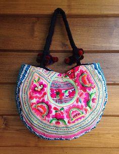 Vintage Hmong carryall tote bag ethnic handmade Tribal embroidery hmong  pompom strap Tribal Bags f0f2603a3c2b3