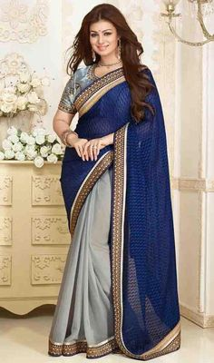 An instant mood brightener, just as Ayesha Takia this blue and gray color brasso half n half sari would be a perfect choice for any occasion. The ethnic lace and resham work to your clothing adds a sign of splendor statement for the look. Upon request we can make round front/back neck and short 6 inches sleeves regular saree blouse also. #NewRoyalBlueAndGrayHalfAndHalfSari