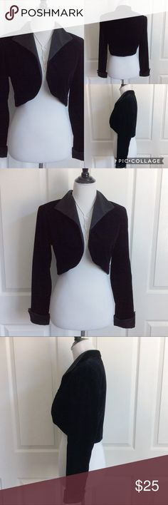 """Just In💕 Vintage Velvet Bolero Vintage Black Velvet Bolero. Great condition...no flaws/odors. Satin lapels and cuffs. No button closure. So elegant over a Holiday dress! 69%acetate, 16%rayon, 15%nylon. Poly Trim. Measured laying flat, across, and down. 18""""B (while closed). 16.5""""back length. 17""""upper back across the shoulder seams. 17""""sleeve measured from underarm to wrist. Price firm. Karen Lucas Collection Jackets & Coats"""
