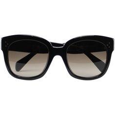 Céline New Audrey sunglasses ($450) ❤ liked on Polyvore featuring accessories, eyewear, sunglasses, glasses, celine, black, celine glasses, celine eyewear and celine sunglasses