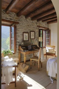 stone wall - home interior Stone Cottages, Stone Houses, Sweet Home, Interior And Exterior, Interior Design, Room Interior, Exterior Paint, Interior Architecture, Design Case