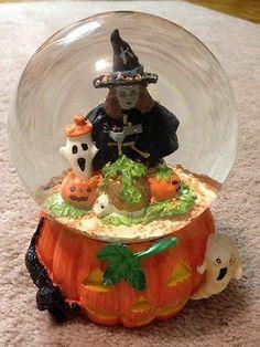 6 spooky halloween water globe witch pumpkin ghost ghoul bats black cat
