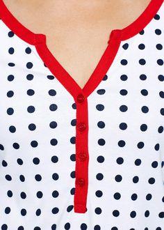 Blusa estampada manga 3/4 azul escuro/morango/branco bolinhas - Moda Feminina - bonprix.de
