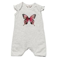 Designer baby girl clothing - Fox & Finch Baby Joie De Vivre Frill Sleeve Romper - $34.95 - Butterflies and flutter sleeve!  Beautiful baby girls romper from the Joie De Vivre range by Fox and Finch Baby! Designer baby girl clothing - Fox & Finch