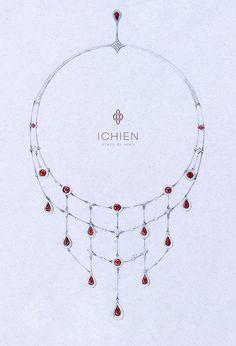 Эскиз колье от ICHIEN Золото, бриллианты, шпинель. #jewellerysketch