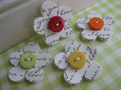 Love this!! Sweet Button paper Flowers embellishments. Repeat sentiment on c/s then punch or die cut.