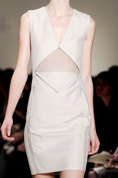 Unzipped envelope fold dress with mesh insert - interesting fashion details; fashion close up