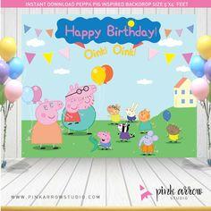Cumpleaños de Peppa Pig Telón de fondo de por PinkArrowStudio