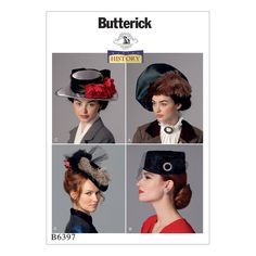 Butterick B6397 Misses' Hats in Four Styles (One Size)