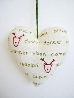 Christmas Tree Ornament - Plush Heart - Reindeer Pattern. janeelookerse.etsy.com