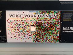 Give kids a sticker dot and they put their vote for the penny on yes or no. Do this for other votes, even school wide. Don't leave up long or too unmonitored Interactive Exhibition, Interactive Walls, Interactive Installation, Interactive Design, School Displays, Library Displays, Experiential Marketing, Design Museum, Grafik Design