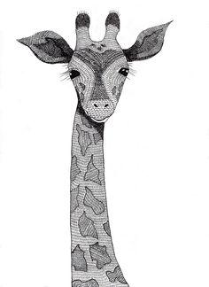 Giraffe in Ink by Claudine Dunn