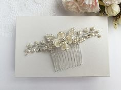 This item is unavailable Flowers In Hair, Flower Hair, Hair Comb Wedding, Pearl Flower, White Gift Boxes, Hair Piece, Gorgeous Hair, Wedding Hairstyles, Hair Combs