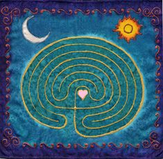 """Labyrinths:  Small hemmed squares, about 10"""" x 10""""    Perfect for hanging next to an altar or to take with you when you travel."""